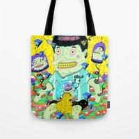 cafe Tote Bags featuring cafe veloz by ALVAREZ