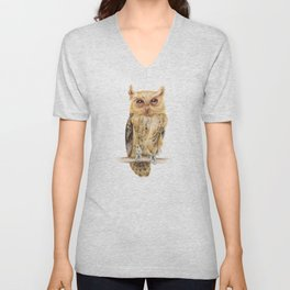 Animals | Owl Watercolour Print | Philippine Scops Owl | Painting Unisex V-Neck