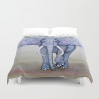 ornate elephant Duvet Covers featuring Ornate Elephant by Katelynn Clarey