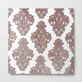 Vintage,Rose gold, damask pattern, template,customise,art nouveau pattern, Metal Print