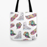 hologram Tote Bags featuring watercolor back to the future 2 by Sarah Brust