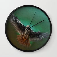 falcon Wall Clocks featuring Falcon by ED Art Studio
