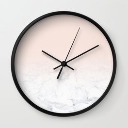 Modern girly pastel blush pink ombre gradient white marble Wall Clock