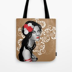Goth Girl with Flowers in her Hair Tote Bag