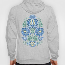 Moravian Folk Design Blue Hoody