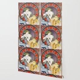 "Alphonse Mucha ""Girl With Easel"" Wallpaper"