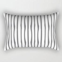 Grey Charcoal Stripes Print White Rectangular Pillow