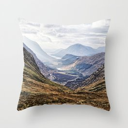 View of Glen Etive from Glencoe, Scotland Throw Pillow