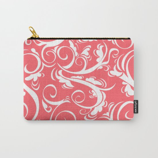 Coral Red Floral Carry-All Pouch