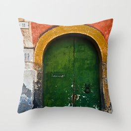 Magic Green Door in Sicily Throw Pillow