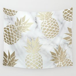 Pineapple Art with Marble, White and Gold Wall Tapestry