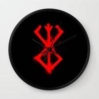 berserk Wall Clocks featuring Cursed Mark by CaptainSunshine