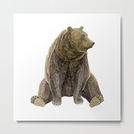 sitting bear print Metal Print