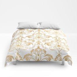 Gold foil swirls damask 17 Comforters
