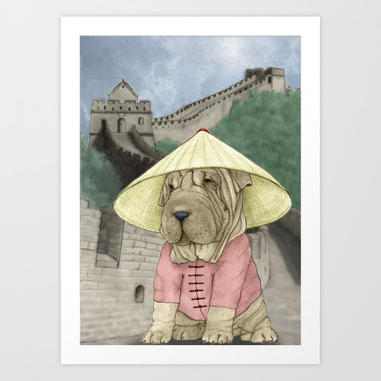 Shar Pei on the Great Wall (China) Art Print