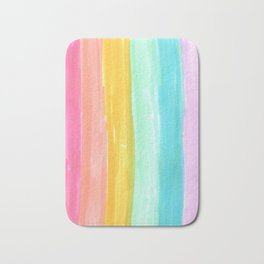rainbow stripes pastel in the spring Bath Mat