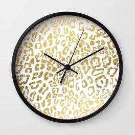 Modern Hipster Girly Gold Leopard Animal Print Wall Clock