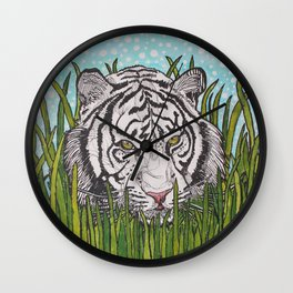 White tiger in wild grass Wall Clock