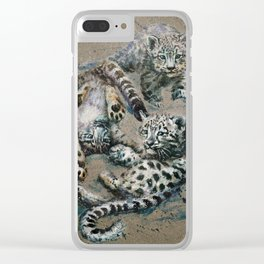 Snow leopard 2 background Clear iPhone Case