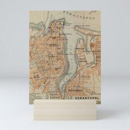 Vintage Sevastopol Ukraine Map (1914) Mini Art Print