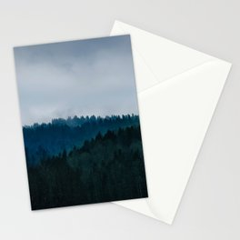 Misty Dark Blue Green Forest Stationery Cards