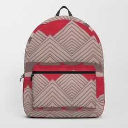 Red and Grey Deco Geometric print Backpack