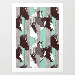 Waiting for the horse race // mint background Art Print
