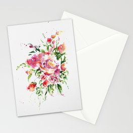 Abstract Bouquet in watercolor Stationery Cards