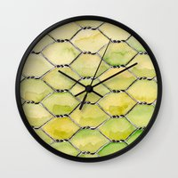 the wire Wall Clocks featuring Chicken Wire by Dawn Patel Art