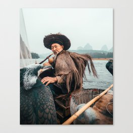 Cormorant fisherman of Yangshuo China 86 years old Canvas Print