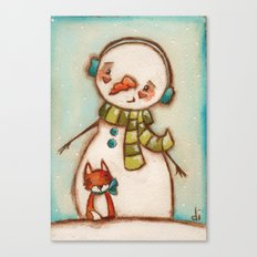 Fox and Friend - Snowman and Fox in the snow Canvas Print
