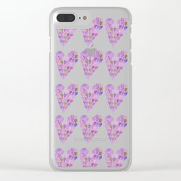 Pink hearts Clear iPhone Case