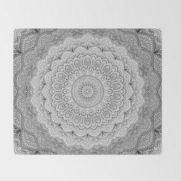 Black and white Lace mandala light Throw Blanket
