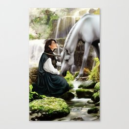 The Unicorn and the Highland Maiden Canvas Print