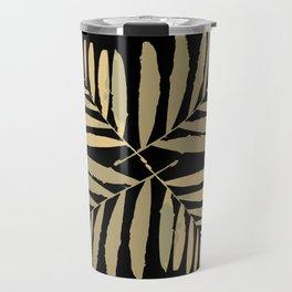 Geometric gold on black tropical leaves pattern tan metal bright leaf , Christmas , society6 Travel Mug