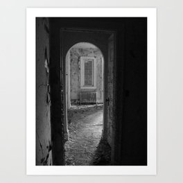 Black and White - Sometimes I Wake in Strange Places, urban exploration Art Print
