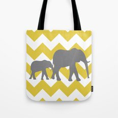 Chevron Elephants (yellow and grey) Tote Bag