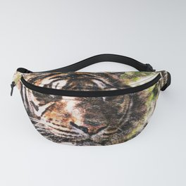 Tiger Eyes Piercing Through the Jungle Fanny Pack
