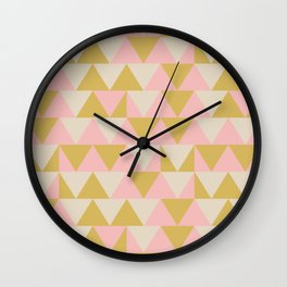 Soft Geometrics Pattern in Pink, Mustard, and Taupe Wall Clock