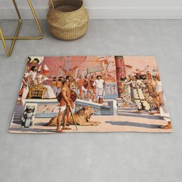 "Classical Masterpiece ""Egyptian Ramesses II Throne Room"" by Herbert Herget Rug"
