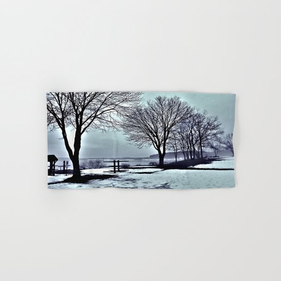Winter Trees by the Lake Hand & Bath Towel