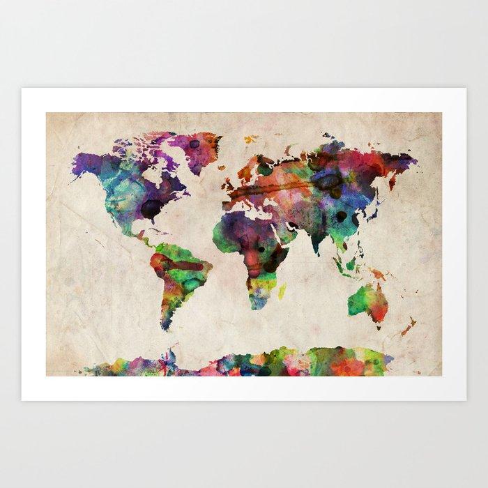 world map urban watercolor art print