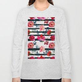 Black white pink floral watercolor stripes pattern Long Sleeve T-shirt