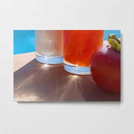 Desserts by the pool, persimmon and natural yoghurt Metal Print