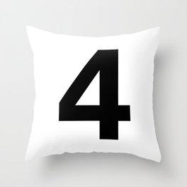 Number 4 (Black & White) Throw Pillow