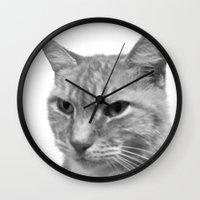 levi Wall Clocks featuring Levi the Cat - B&W by Sean Foreman