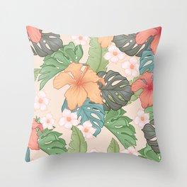 Sweet Pink Blooms Throw Pillow