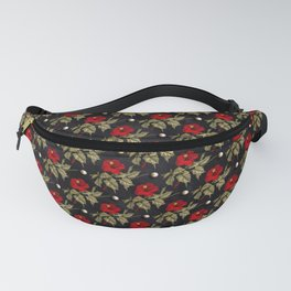 Red and Gold Hibiscus with Pearls Pattern Fanny Pack