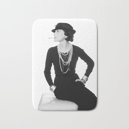 Fashion Icon, French Woman with Pearls, Black and White Art Bath Mat