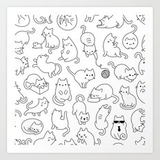 Cat Space - Black and White Funny Kitty Pattern Art Print